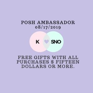 Free Gifts With Purchases $15 dollars or more.